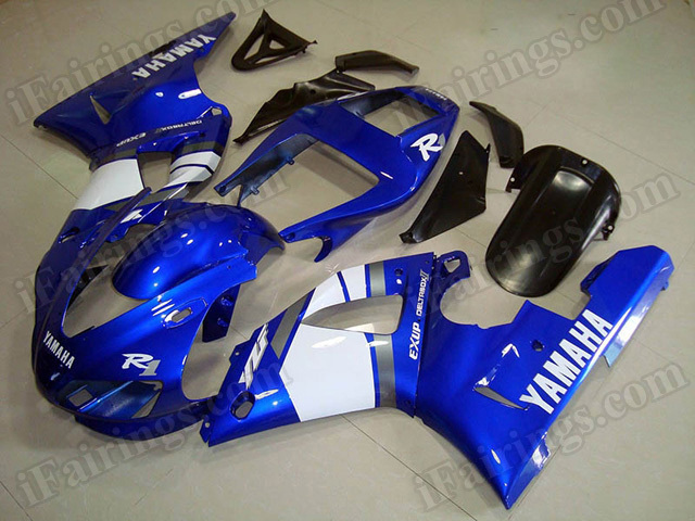 Motorcycle fairings/body kits for 1998 1999 Yamaha YZF R1 blue and white.