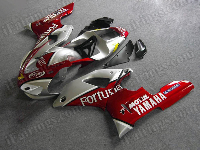 Motorcycle fairings/body kits for 1998 1999 Yamaha YZF R1 red and silver fortuna replica..