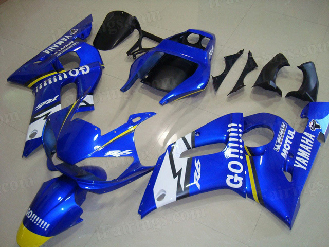 Motorcycle fairings/body kits for 1999 to 2002 Yamaha YZF R6 GO!!! graphic.