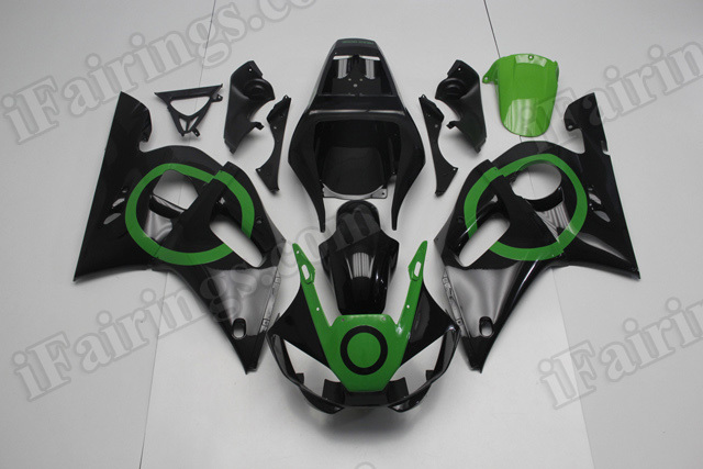 Motorcycle fairings/body kits for 1999 to 2002 Yamaha YZF R6 black and green.