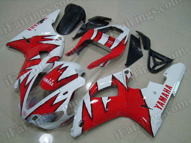 Motorcycle fairings/body kits for 2000 2001 Yamaha YZF R1 red and white.