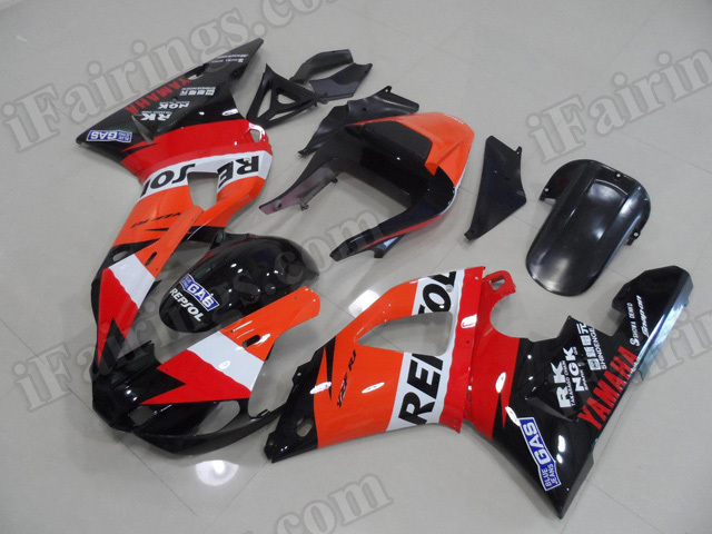 Motorcycle fairings/body kits for 2000 2001 Yamaha YZF R1 Repsol color scheme.