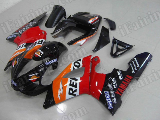 Motorcycle fairings/body kits for 2000 2001 Yamaha YZF R1 Repsol replica.