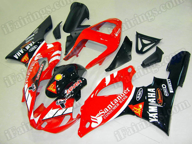 Motorcycle fairings/body kits for 2000 2001 Yamaha YZF R1 Santander replica.
