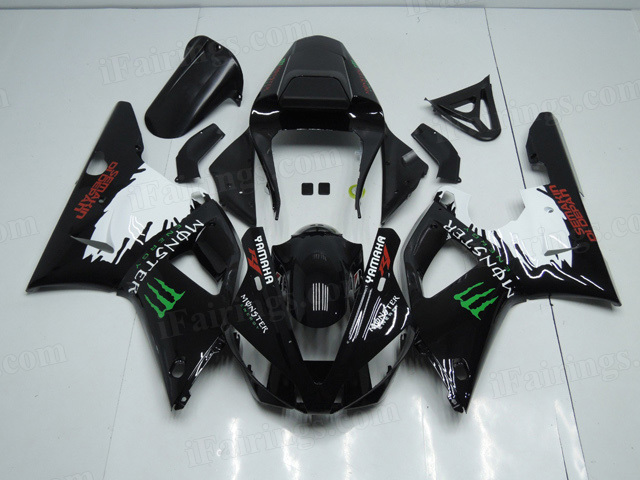 Motorcycle fairings/body kits for 2000 2001 Yamaha YZF R1 black with monster symbol.