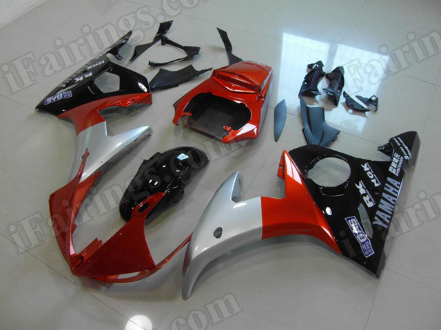 Motorcycle fairings/body kits for 2003 2004 2005 Yamaha YZF R6 orange, silver and black.