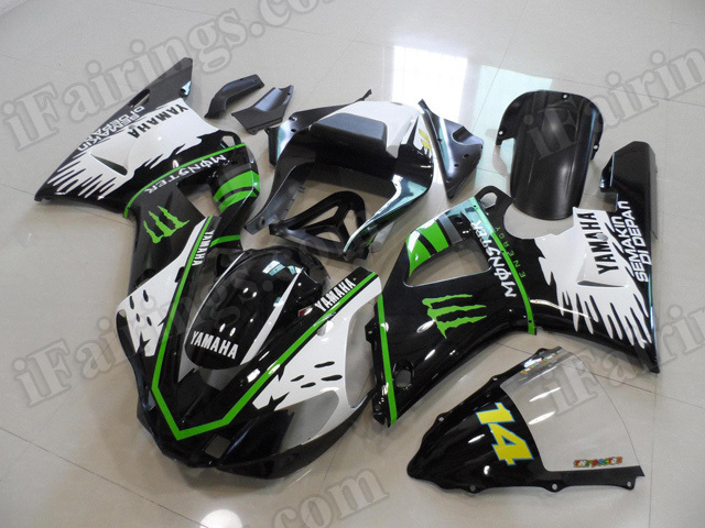 Motorcycle fairings/body kits for 2000 2001 Yamaha YZF R1 white, black with green line.