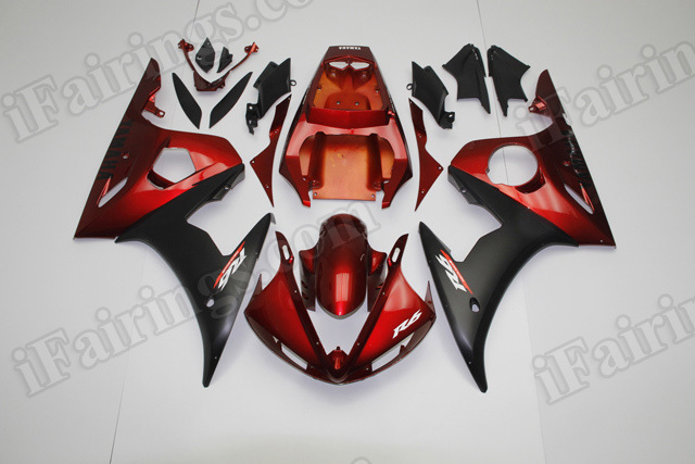 Motorcycle fairings/body kits for 2003 2004 2005 Yamaha YZF R6 red and black.