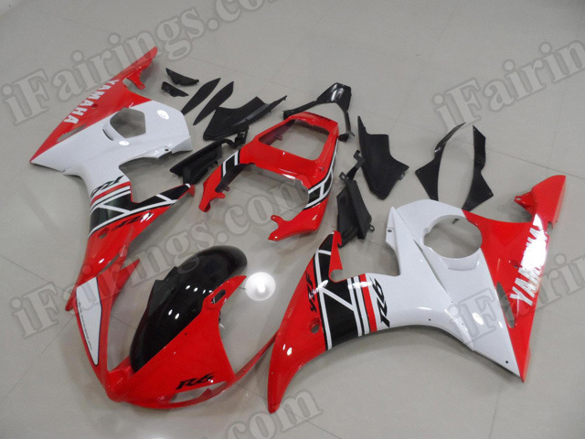 Motorcycle fairings/body kits for 2003 2004 2005 Yamaha YZF R6 red, white and black.