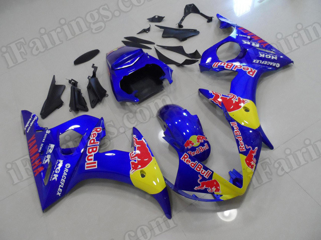 Motorcycle fairings/body kits for 2003 2004 2005 Yamaha YZF R6 RedBull replica.