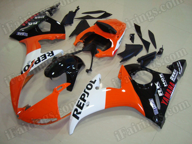 Motorcycle fairings/body kits for 2003 2004 2005 Yamaha YZF R6 repsol replica.