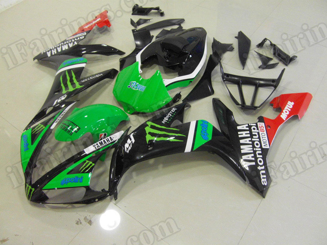 Motorcycle fairings/body kits for 2004 2005 2006 Yamaha YZF R1 green and black monster.