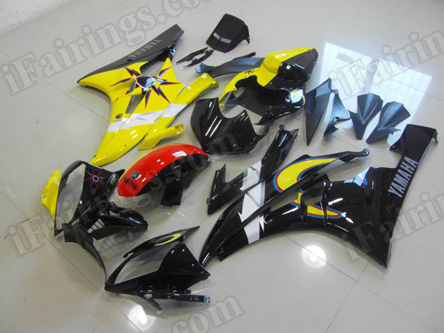 Motorcycle fairings/body kits for 2006 2007 Yamaha YZF R6 black and yellow.