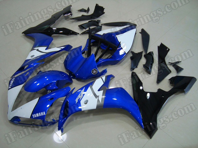 Motorcycle fairings/body kits for 2004 2005 2006 Yamaha YZF R1 blue, white and black.