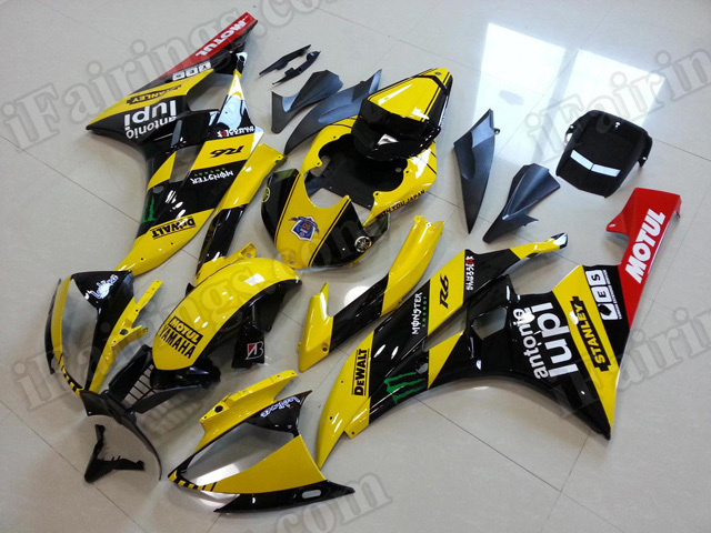 Motorcycle fairings/body kits for 2006 2007 Yamaha YZF R6 yellow and black monster.