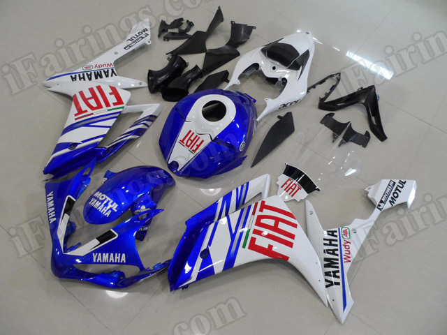 Motorcycle fairings/body kits for 2007 2008 Yamaha YZF R1 Fiat color scheme.
