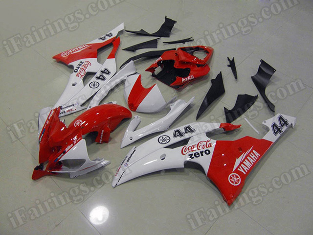 Motorcycle fairings/body kits for 2008 to 2015 Yamaha YZF R6 red and white