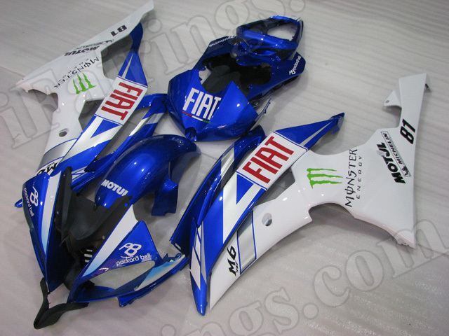Motorcycle fairings/body kits for 2008 to 2015 Yamaha YZF R6 blue and white
