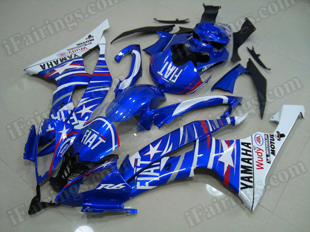 Motorcycle fairings/body kits for 2008 to 2015 Yamaha YZF R6 blue Fiat stars graphic.