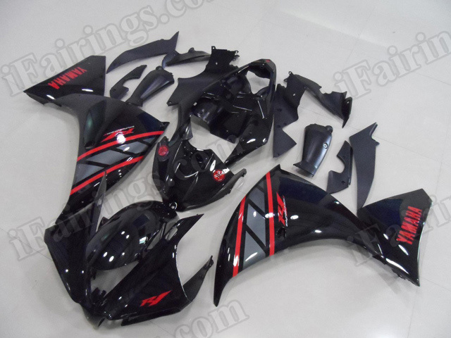 Motorcycle fairings/body kits for 2012 2013 2014 Yamaha YZF R1 glossy black with red stickers.
