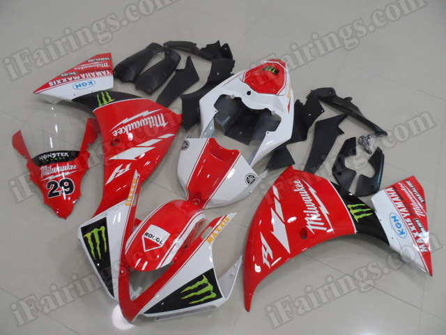 Motorcycle fairings/body kits for 2012 2013 2014 Yamaha YZF R1 red and white scheme.