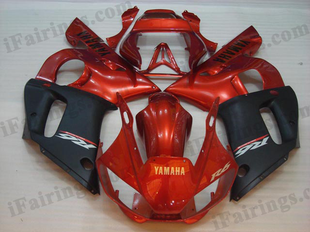 Replacement fairings for 1999 to 2002 YZF R6 orange/black graphics