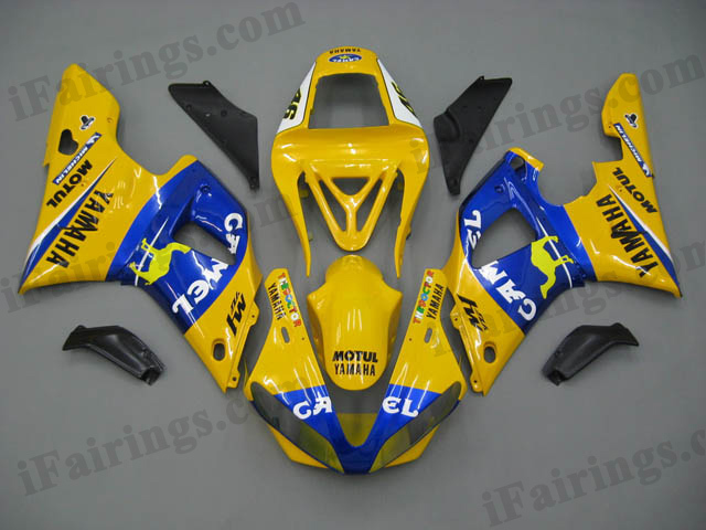YZF-R1 2000 2001 Camel replica fairings, 2000 2001 YZF-R1 decals.
