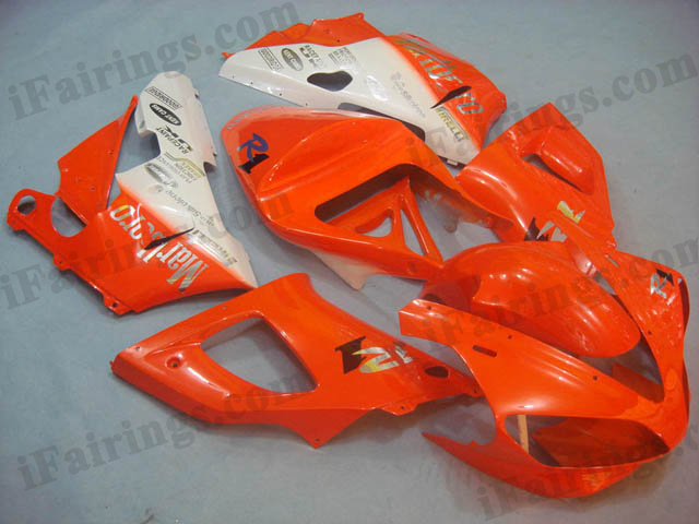 YZF-R1 2000 2001 orange and white fairings, 2000 2001 YZF-R1 graphics.