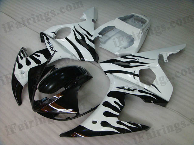 YZF-R6 2003 2004 2005 white flame fairings, 2003 2004 2005 R6 flame scheme.