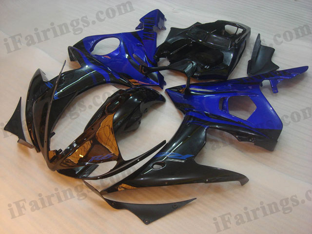 YZF-R6 2003 2004 2005 black and blue fairings, 2003 2004 2005 R6 panels.