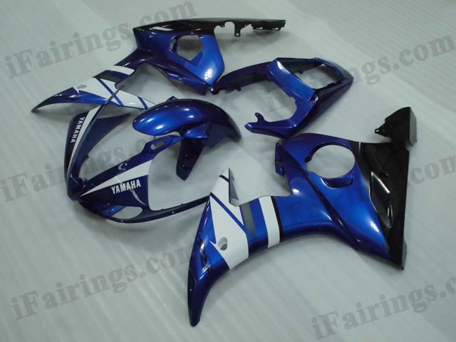 YZF-R6 2003 2004 2005 black and blue fairings, 2003 2004 2005 R6 plastic.