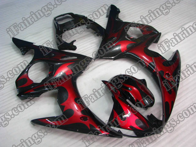 YZF-R6 2003 2004 2005 black and red flame fairings.