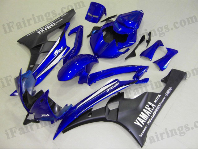 YZF-R6 2006 2007 blue and black fairings, 2006 2007 R6 decals.