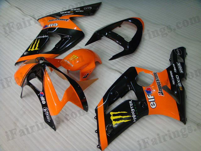 2003 2004 Kawasaki ZX6R Ninja orange/black monster fairing kits.