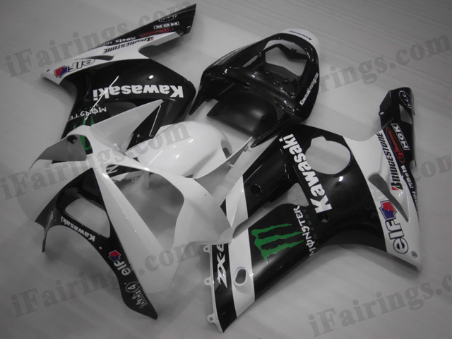 2003 2004 Kawasaki ZX6R Ninja white/black monster fairing kits.