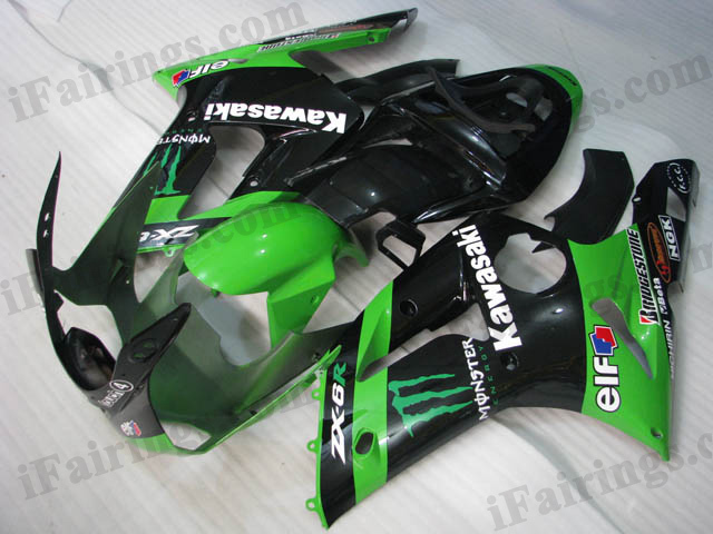 2003 2004 ZX6R 636 monster graphic fairings.