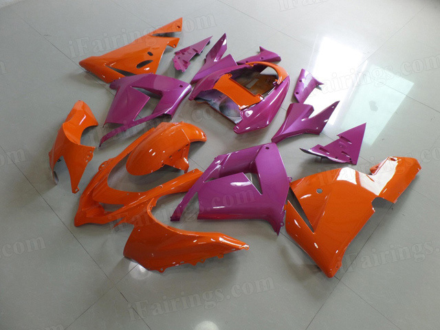 2004 2005 Kawasaki Ninja ZX10R orange and purple fairings.