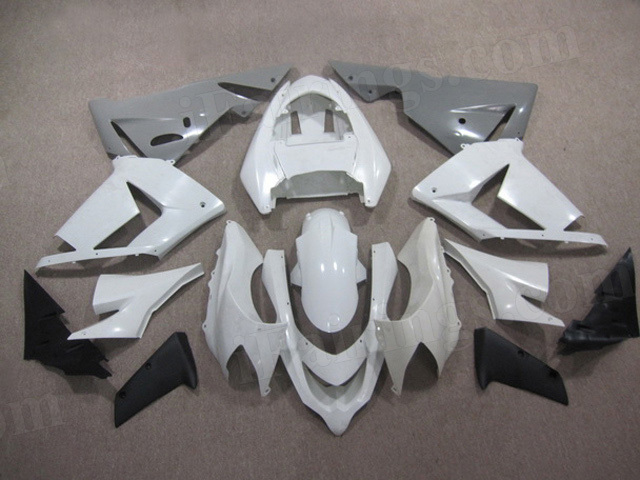 2004 2005 Kawasaki Ninja ZX10R white and grey fairing kits.