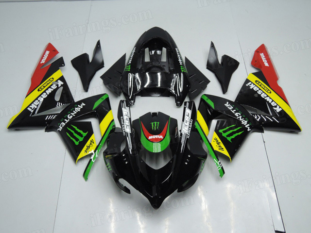 2004 2005 Kawasaki Ninja ZX10R custom fairing kits with monster symbol.