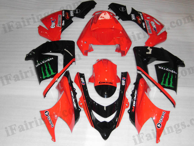 2004 2005 Kawasaki ZX10R red monster scheme fairing kits.