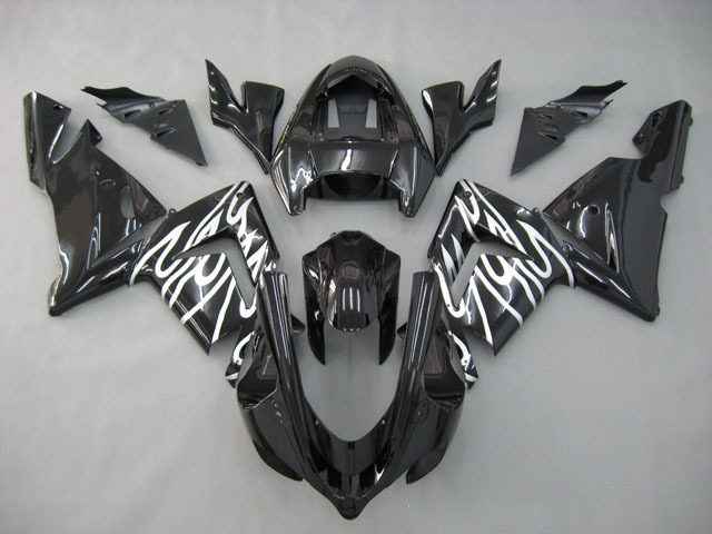 2004 2005 ZX10R black and white flame fairing kits