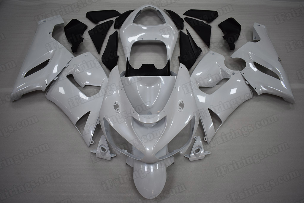 2005 2006 Kawasaki ZX-6R Pearl White Fairing Kit.
