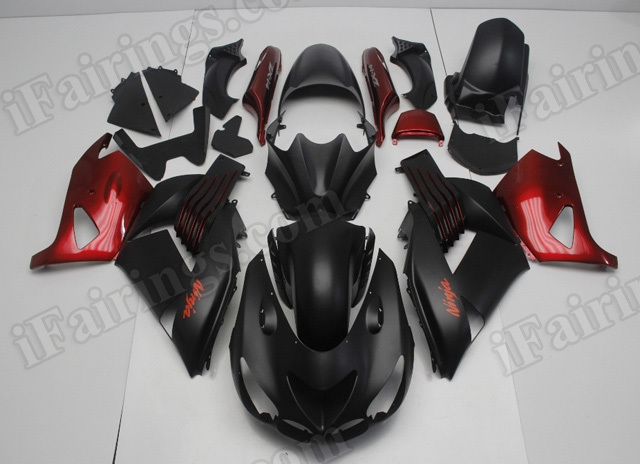 2006 2007 2008 2009 2010 2011 Kawasaki ZX14R black and red fairing kits.