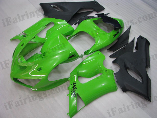 2005 2006 ZX6R 636 green and black fairing kits