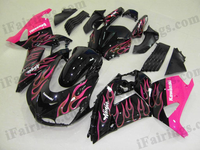 2006 2007 2008 2009 2010 2011 ZX14R black and pink flame fairing kits