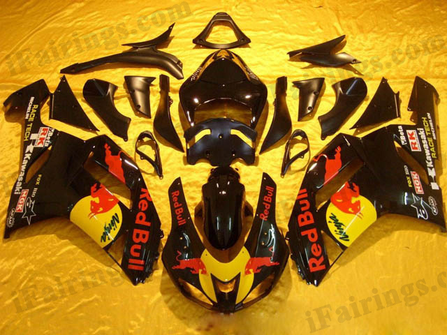 2006 2007 2008 2009 2010 2011 ZX14R black red bull fairings