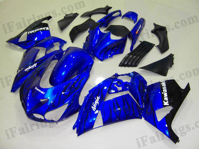 2006 2007 2008 2009 2010 2011 ZX14R blue and black flame fairing kits