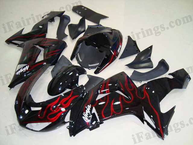 2006 2007 ZX10R red flame fairings