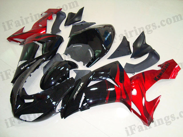 2006 2007 ZX10R black and red flame fairing kits