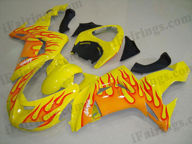 2006 2007 ZX10R yellow and red flame fairing kits